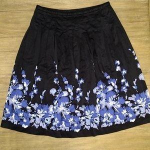 Charter Club Black Blue Flower Modest Skirt 10